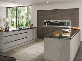 Kitchen in Valore Light Concrete & Grey Brown Ontario Walnut