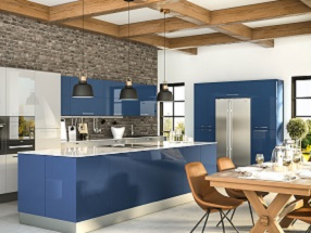 Kitchen in Ultragloss Baltic Blue & Light Grey