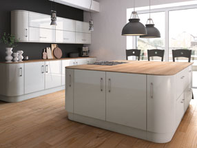 Acrylic Ultragloss Kitchen in Acrylic Light Grey